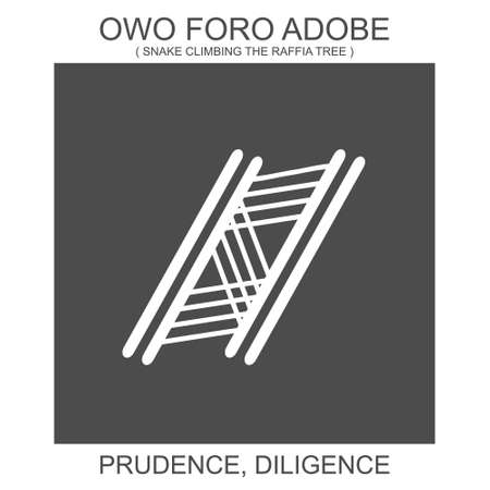 Vector icon with african adinkra symbol Owo Foro Adobe. Symbol of prudence and diligence Vektorové ilustrace