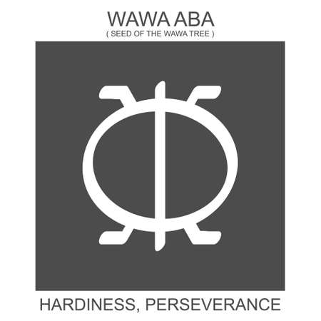 Vector icon with african adinkra symbol Wawa Aba. Symbol of hardiness and perseverance