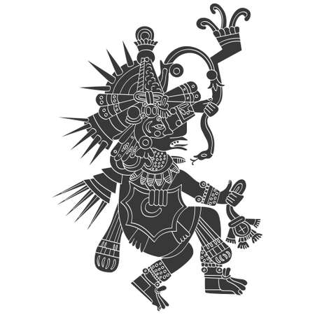 vector icon with Quetzalcoatl the Aztec god of wind and air