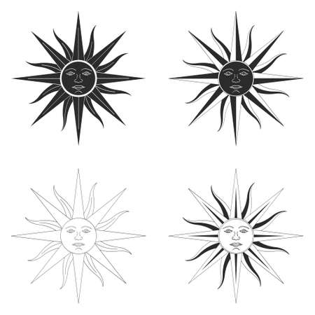 vector monochrome icon set with Sun of May ancient symbol of Incan sun god Inti