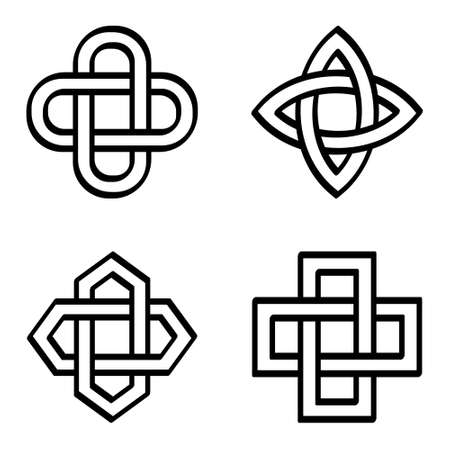 vector monochrome icon set with ancient decorative motif Solomon's knot for your project