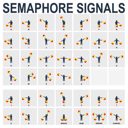 vector monochrome icon set with Semaphore Flag Signals for your project