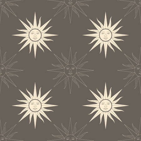 Seamless vector pattern with Sun of May ancient symbol of Incan sun god Inti for your project
