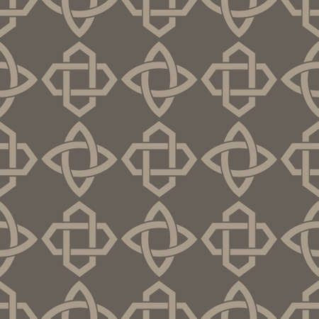 Seamless vector pattern with ancient decorative motif Solomon's knot for your project