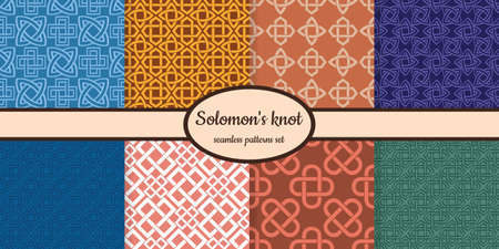Collection of seamless patterns with ancient decorative motif Solomon's knot designed for web, fabric, paper and all prints Ilustração