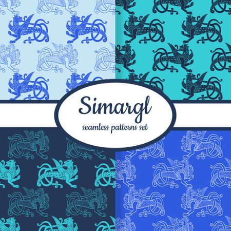Collection of seamless patterns with ancient Slavic symbol Simargl or Chernihiv Beast designed for web, fabric, paper and all prints