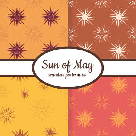 Collection of seamless patterns with Sun of May ancient symbol of Incan sun god Inti designed for web, fabric, paper and all prints