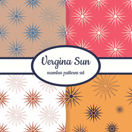 Collection of seamless patterns with ancient solar symbol Vergina Sun designed for web, fabric, paper and all prints Vettoriali