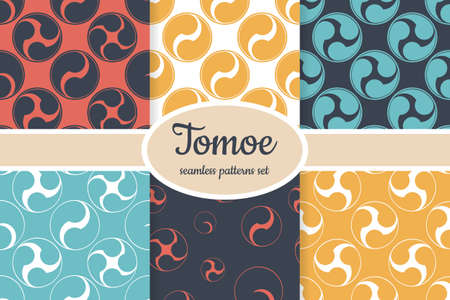 Collection of seamless patterns with japanese symbol Tomoe designed for web, fabric, paper and all prints