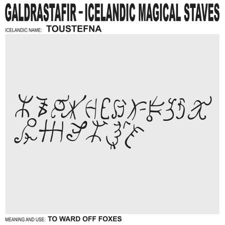 vector icon with ancient Icelandic magical staves Toustefna. Symbol means and is used for ward off foxes