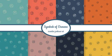 Collection of seamless patterns with symbols of demons designed for web, fabric, paper and all prints