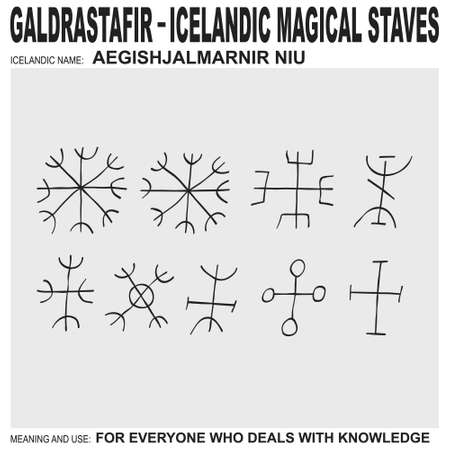 vector icon with ancient Icelandic magical staves Aegishjalmarnir Niu. Symbol means and is used for everyone who deals with knowledge