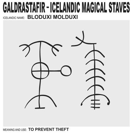 vector icon with ancient Icelandic magical staves Bloduxi Molduxi. Symbol means and is used to prevent theft