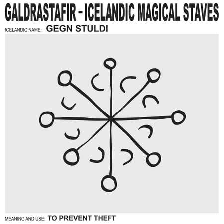 vector icon with ancient Icelandic magical staves Gegn Stuldi. Symbol means and is used to prevent theft