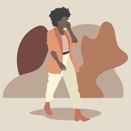 Stock vector african american woman walks down the street and talks on the phone. Made in a flat design on the background of abstract geometric shapes. Quality image for your project