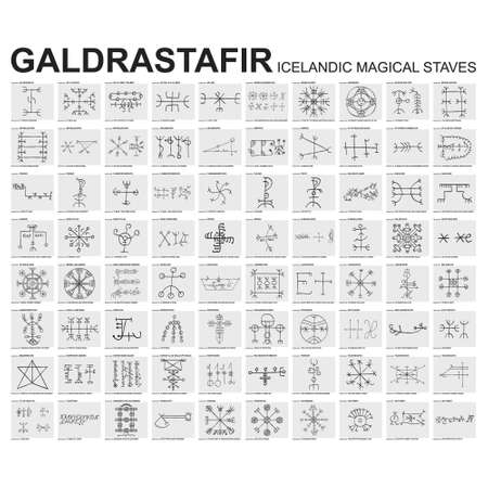 Vector icon set with Galdrastafir Icelandic Magical Staves with their meanings