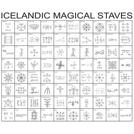 Vector icon set with Icelandic magical symbols for your project