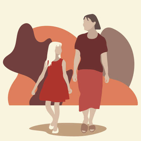 Mom with little daughter on a walk against the abstract geometric shapes. Flat vector illustration. The concept of motherhood.