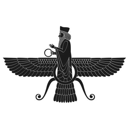 vector monochrome icon with ancient egyptian symbol Faravahar for your project