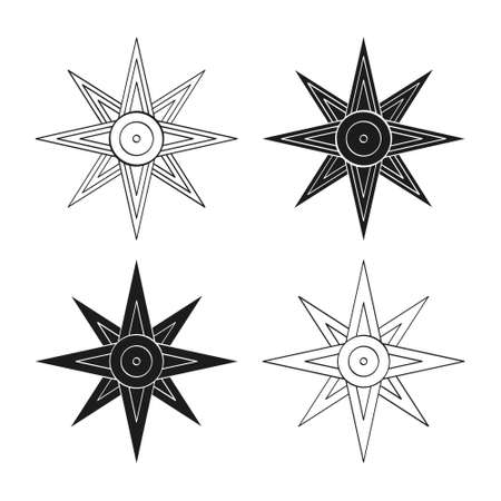 vector monochrome icon set with ancient Sumerian symbol Star of Ishtar for your project