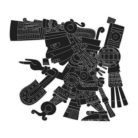 vector image with Aztec god Tezcatlipoca lord of the Night for your project Векторная Иллюстрация