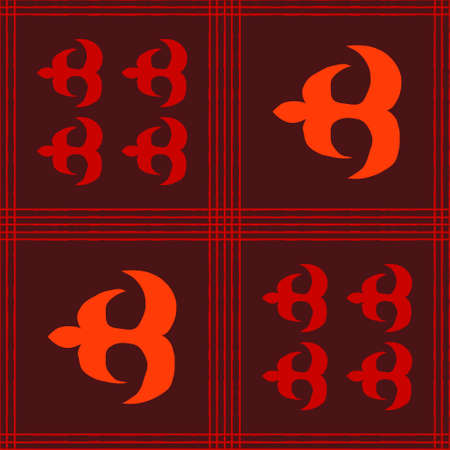 Seamless vector authentic fabric pattern with african adinkra symbols for your project Stock fotó - 161213024