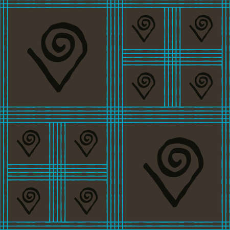 Seamless vector authentic fabric pattern with african adinkra symbols for your project Stock fotó - 161287740