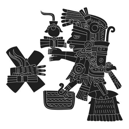 vector image with Aztec god Tezcatlipoca lord of the Night for your project