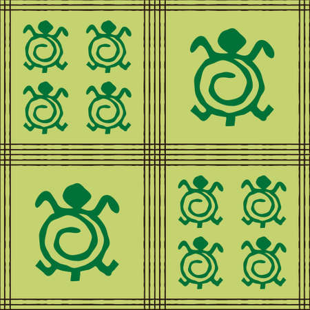 Seamless vector authentic fabric pattern with african adinkra symbols for your project Stock fotó - 161319799