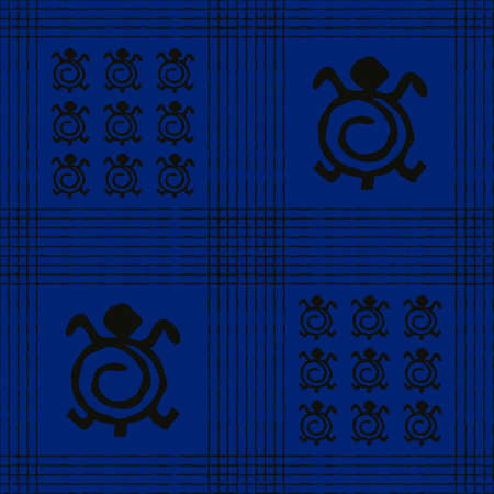 Seamless vector authentic fabric pattern with african adinkra symbols for your project Stock fotó - 161319801