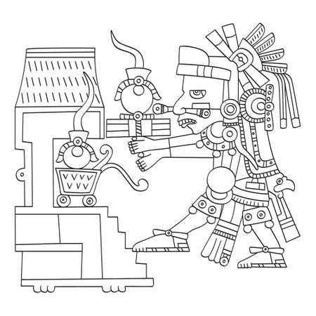vector image with Aztec god Piltzintecuhtli lord of the rising sun for your project