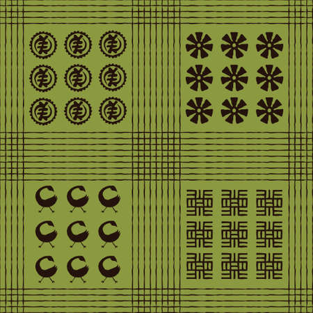 Seamless vector authentic fabric pattern with african adinkra symbols for your project