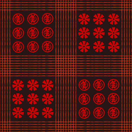 Seamless vector authentic fabric pattern with african adinkra symbols for your project Stock fotó - 161401048