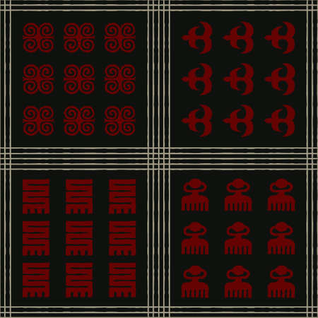 Seamless vector authentic fabric pattern with african adinkra symbols for your project Stock fotó - 161401051