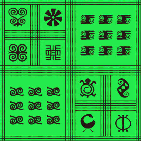 Seamless vector authentic fabric pattern with african adinkra symbols for your project Stock fotó - 161485459