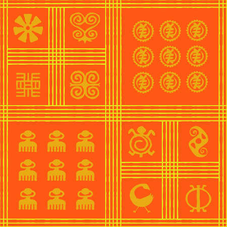 Seamless vector authentic fabric pattern with african adinkra symbols for your project Stock fotó - 161485460