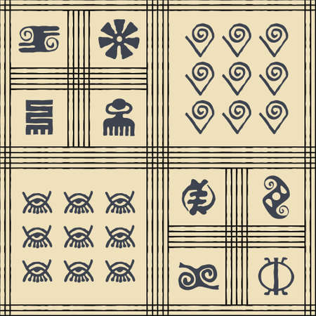 Seamless vector authentic fabric pattern with african adinkra symbols for your project Stock fotó - 161485461