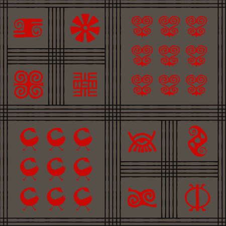 Seamless vector authentic fabric pattern with african adinkra symbols for your project Stock fotó - 161485466