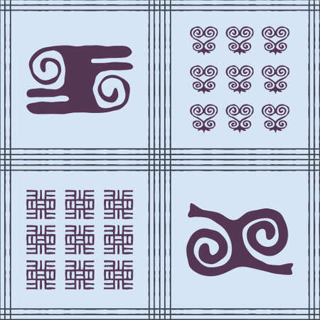 Seamless vector authentic fabric pattern with african adinkra symbols for your project Stock fotó - 161485472
