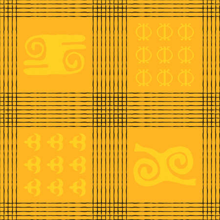 Seamless vector authentic fabric pattern with african adinkra symbols for your project Stock fotó - 161550183