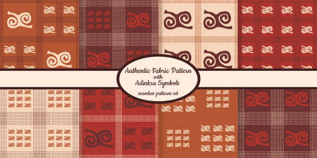 Collection of seamless authentic fabric patterns with african adinkra symbols designed for web, fabric, paper and all prints Stock fotó - 161550195