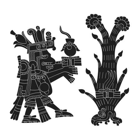 vector image with Aztec god Centeotl lord of maize for your project