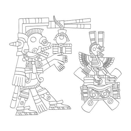 vector image with Aztec god Mictlantecutli.God of the dead and the underworld for your project