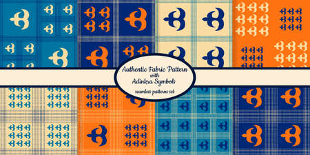 Collection of seamless authentic fabric patterns with african adinkra symbols designed for web, fabric, paper and all prints Stock fotó - 161834289