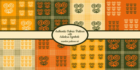 Collection of seamless authentic fabric patterns with african adinkra symbols designed for web, fabric, paper and all prints Stock fotó - 161834290