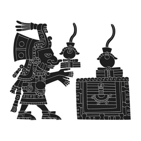 vector image with Aztec god Chalchiuhtlicue.God of the of water and rivers for your project Illusztráció