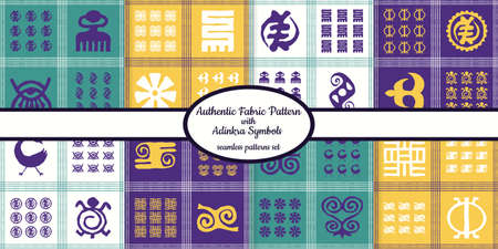 Collection of seamless authentic fabric patterns with african adinkra symbols designed for web, fabric, paper and all prints Illusztráció