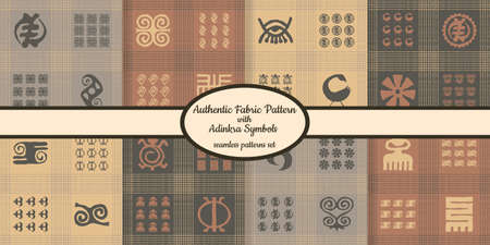 Collection of seamless authentic fabric patterns with african adinkra symbols designed for web, fabric, paper and all prints Stock fotó - 161834308