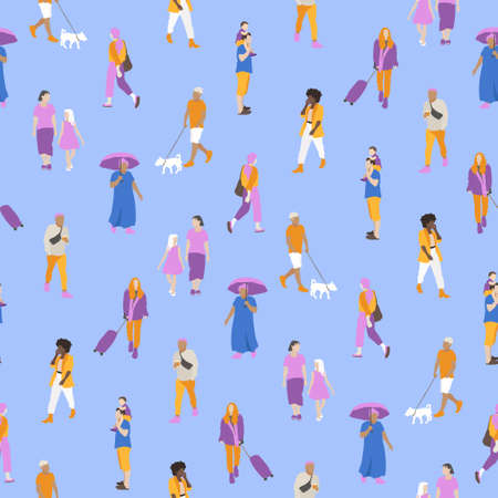 Vector seamless pattern with people walking on the street. Men, women, children outdoors with different kinds of activities. Colorful background with tiny people. Illustration in flat style