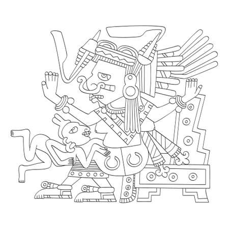 vector image with Aztec god Tlazolteotl.God of the vice and patroness of adulterers for your project